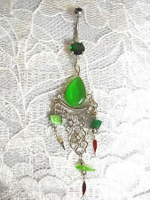 NEW RICH GREEN CATS EYE GEM DROPLET BELLY DANCER 14g CZ BELLY RING NAVEL BARBELL