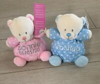 PERSONALISED BABY TEDDY BEAR SOFT TOY RATTLE GIFT NEW BABY SHOWER BLUE PINK