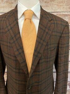 Kiton 100% Cashmere Jacket 46 L Long Brown Red Plaid Blazer Sportcoat