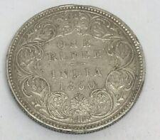 1880 British-India Victoria One Rupee Silver Coin