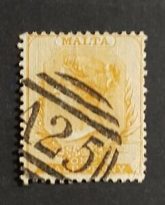 1863 Malta ½d Br Orange Yellow QV Victoria Used A25 Perforation 14 -SG12 CV £120