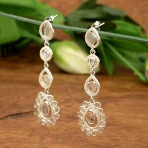 Natural Slice Diamond Dangle 925 Sterling Silver Handmade Wedding Gift Jewelry