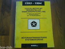 #J105 CHRYSLER 1993 1994 alle MOTOR 2,2 2,5 TBI /SFI Diagnose WERKSTATT HANDBUCH