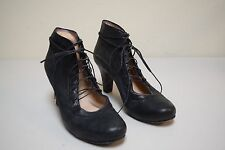 CORDANI Italy Black Distressed Leather Lace Up Steampunk Pumps Shoes Size 37.5 M