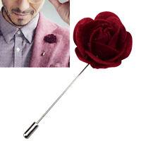Felt Lapel Flower Boutonniere Stick Brooch Pin Men's Suit Tie Wine Handmade