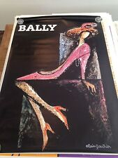 Original Vintage Poster Bally Woman Swiss Shoes 1970 Alain Gauthier Large Pink