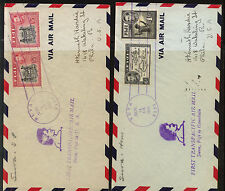 Fiji  2  airmail  covers  1941 different stamps        KL0804