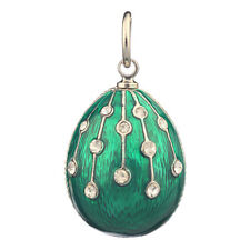 Faberge Egg Pendant / Charm with crystals 2.3 cm green #0805-08