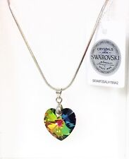 MAREA SILVER TONE CHAIN,IRIDESCENT SWAROVSKI CRYSTAL HEART SHAPE CHARM NECKLACE