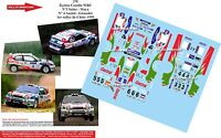 DECALS 1/43 REF 256 TOYOTA COROLLA WRC CARLOS SAINZ RALLYE CHINE 1999 RALLY