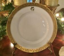 "DINNER PLATE: Epiag Czech/Springer Co.~Gold Encrusted~Monogram ""NFM"" Very Good"
