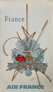"""Affiche originale ancienne de Georges Mathieu - Air France """"France"""" - 1967"""