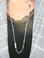 Edelstein Halskette Neklaces Kette mit 8 mm oliv grüne Jade 45 cm m.Karabiner