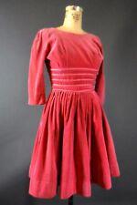 Vintage 50s 60s Full Skirt Pin-Up Carnation Pink Ribbon Trim Velvet Dress 0 XS S