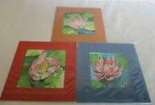 3 Batik Art Prints, Hand Drawn On Silk, Water Lilies, Mounted Prints, 16.5cm