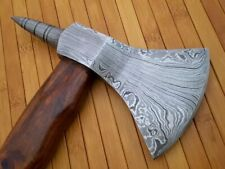 HAND FORGED DAMASCUS STEEL TOMAHAWK, HATCHET, AXE ,INTEGRAL, Spike Axe+ Sheath