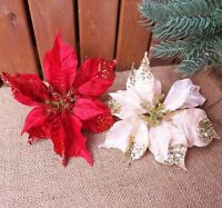 Large Red Ivory Glitter Silk Clip On Poinsettia Bloom Christmas Tree Decoration