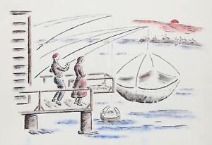 Winthrop Neilson, Fishing, Watercolor on Paper