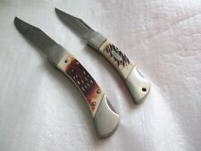 2 Vintage SHARP 800 Stag Handle Stainless Steel Pocket Knife USA & Japan