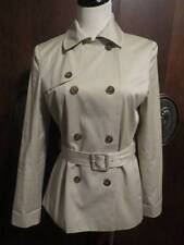 346 BROOKS BROTHERS Beige Double Breasted Belted Short Trench Coat Jacket 4 Mint