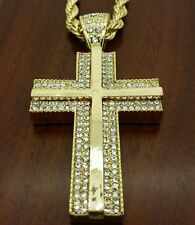 Men's hip hop gold plated iced out Cross pendant rope chain necklace