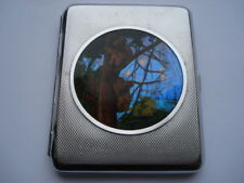 1930S VINTAGE TWO KOALA BEARS CLIMBING A TREE PICTURE CIGARETTE CASE WITH MIRROR