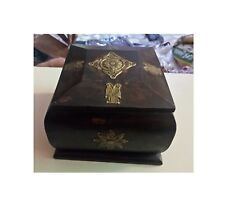 Wooden Box Hand Crafted Brass Fitted Old Trinket Jewelry Storage Box Art