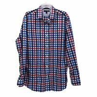 Banana Republic Mens Large Red Blue Plaid Camden Fit Non-Iron Button Front Shirt