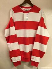 NWT UNDEFEATED red & white striped crew neck sweatshirt (size: XL)