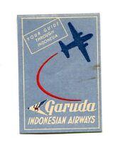 Vintage Airline Label GARUDA INDONESIAN AIRWAYS Your Guide Through Indonesia