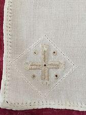 "Linen Cocktail Napkin Hand Embroidered Cutwork Ecru, 11"" square, Cross Pattern"