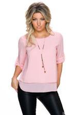 T-shirt, maglie e camicie da donna Blusa rosa con girocollo