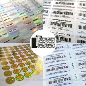 Tamper Proof Stickers Tamper Evident Warranty Void Labels Barcode Hologram