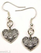 Hand Made Silver Colour Open Fretwork Heart Earrings HCE358
