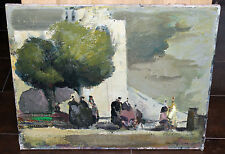 ancien tableau vue animée de provence signé Marcel Feguide vers 1940