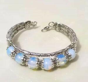 Ladies Bangles Tibetan Silver Bangles White Opal Bead Woman Bracelet