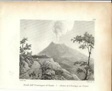 Stampa antica VESUVIO veduta con la strada dall' Eremo Napoli 1834 Old print