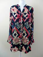 M&S Collection size 14 blouse/shirt navy mix abstract floral textured bnwt