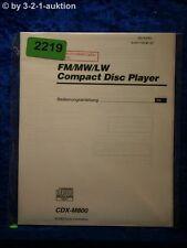 Sony Bedienungsanleitung CDX M800 CD Player (#2219)