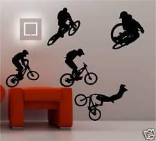 5 X BMX BIKERS RIDERS WALL ART STICKER KIDS BEDROOM