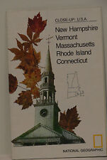 Vintage 1975 National Geographic Map of New Hampshire Vermont Massachusetts .