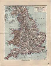Landkarte map 1912: ENGLAND UND WALES. Durham York Stafford Suffolk Devon Denbig