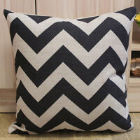45cm x 45cm Vintage Retro Black & Cream ZIG ZAG Chevron Linen Cushion Cover