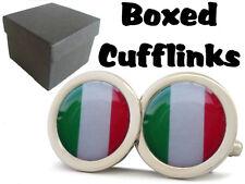ITALY ITALIAN FLAG ITALIA BOXED CUFFLINKS NEW FREE UK SHIPPING