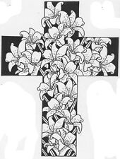 Unmounted Rubber Stamp, Easter Lily, Christian Stamps, Floral Cross, Crosses