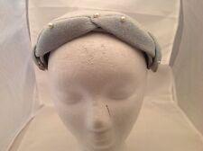 Vintage Ladies Hat Light Blue Gauzy Fabric Faux Pearl Accent W/ Bows Headpiece