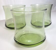 "Set of Three (3) Libbey Mid Century Modern ""AVOCADO GREEN"" Rocks Glasses"