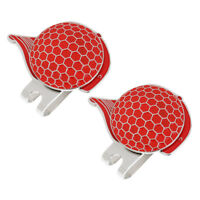 2 x Stainless Steel Cap Design Golf Hat Clip Magnetic with Ball Marker Red