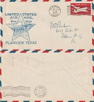 US 1948 FIRST FLIGHT FLOWN COVER PLAINVIEW TEXAS TO LUBBOCK TEXAS