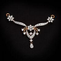 Pave 1,20 Cts Runde Brilliant Cut Diamanten Mangalsutra Anhänger In 585 14K Gold